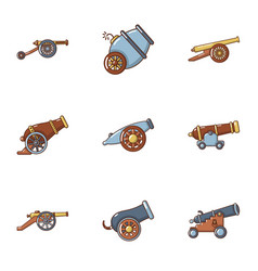 artillery icons set cartoon style vector image