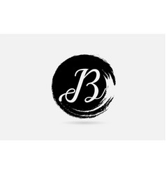 b letter logo alphabet on grunge circle in black vector image