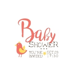Baby Shower Invitation Design Template With Bird vector image