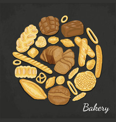 Background with colored bakery products vector