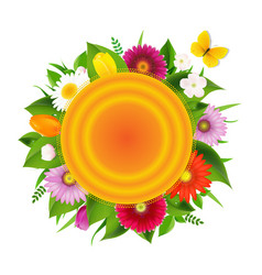 Ball banner from flowers with butterfly vector