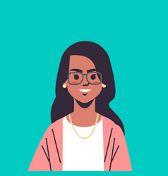 Beautiful indian woman wearing glasses looking in vector