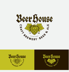 beer house logo brewing company beer pub label vector image