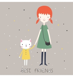 Best friends background or card vector image