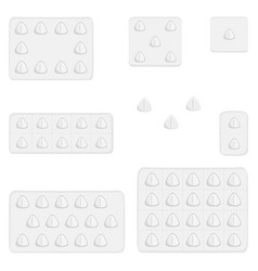 big colored set different types of pills inside vector image
