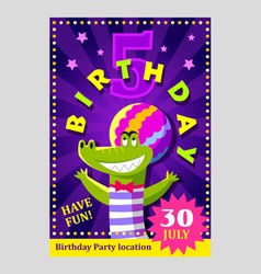 Birthday party poster or flier for kids vector