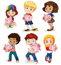 Boys and girls holding piggy bank vector image