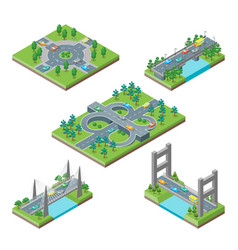 bridges and roads icons set isometric view vector image