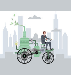 Businessman drives a business car bicycle in vector