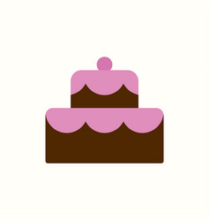 cake icon flat color style vector image