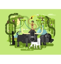Character Mowgli with animal vector image