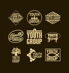 Christian logos banners and stickers youth group vector