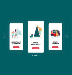 christmas family time mobile app page onboard vector image