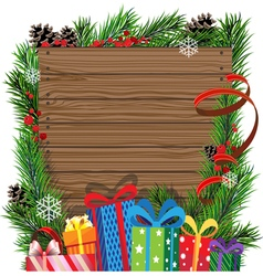 Christmas presents on wooden board vector image