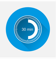 Clock icon indicating time interval 30 minute vector