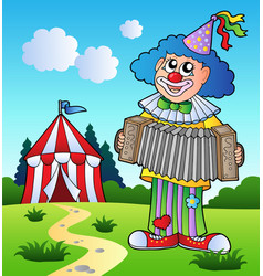 clown playing accordion near tent vector image