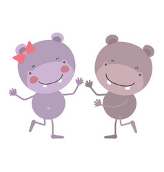 Colorful caricature with couple of hippos dancing vector