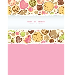 Colorful cookies vertical torn frame seamless vector image