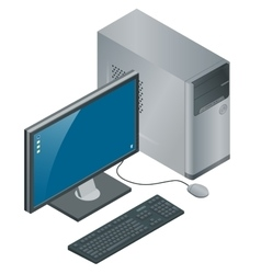 Computer Case with Monitor Keyboard and Mouse vector