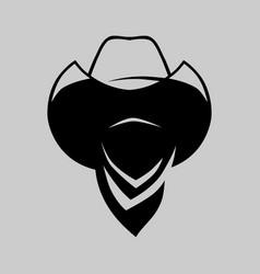 Cowboy outlaw symbol on gray backdrop vector