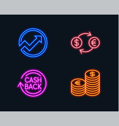Currency exchange audit and cashback icons vector