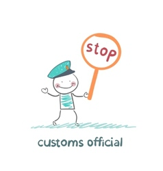 customs officer holding a stop sign vector image