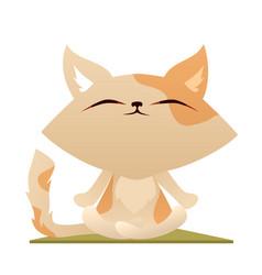 Cute cartoon cat meditating in lotus pose on yoga vector