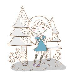 Cute girl cartoon stylish outfit dress nature vector