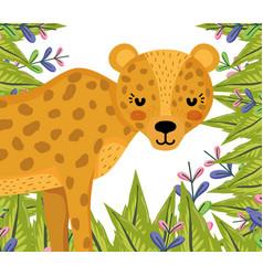 Cute jaguar wildlife animal cartoon vector