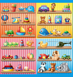 Different types of toys on the shelves vector