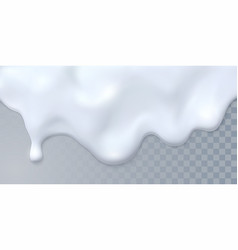 dripping white milk on transparent background vector image