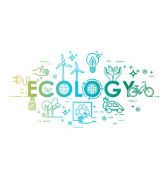 ecology lifestyle green energy recycle icons vector image