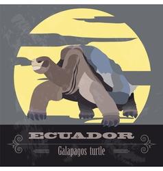 Ecuador landmarks Retro styled image vector