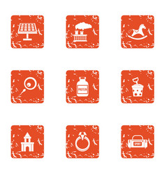 Energy production icons set grunge style vector