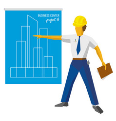 engineer builder show blueprint with project vector image