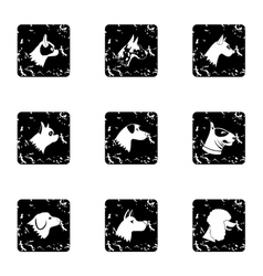 Faithful friend dog icons set grunge style vector