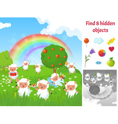 find hidden objects kids puzzle game with sheep vector image