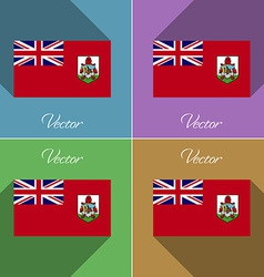 Flags Bermuda Set of colors flat design and long vector image