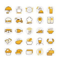 flat restaurant and food icons vector image