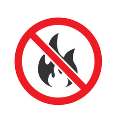 Forbidden sign with fire glyph icon vector