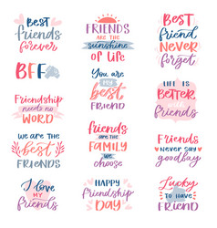 friend lettering friendship card typography vector image