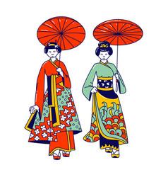 geisha women isolated on white background female vector image
