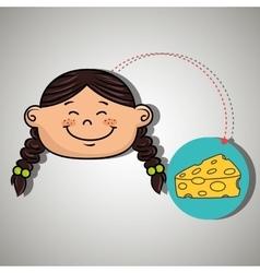 Girl cheese food eat vector