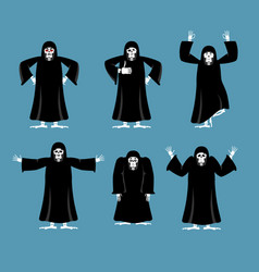 grim reaper set poses and motion death happy and vector image