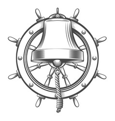 hand drawn tattoo ship bell and steering wheel vector image