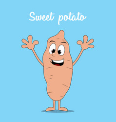 Happy cartoon sweet potato isolated on blue vector