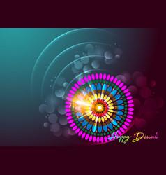 happy diwali colorful burning lamp mandala vector image