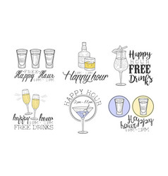 happy hour hand drawn retro labels set free vector image