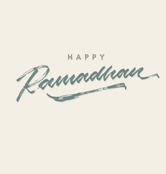 Happy ramadhan roughen brush lettering typography vector