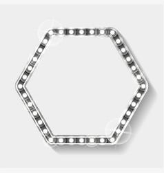 Hexagonal frame with silver lights bulbs vector